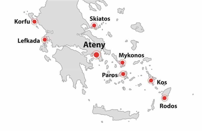Czarter jachtów Grecja mapka