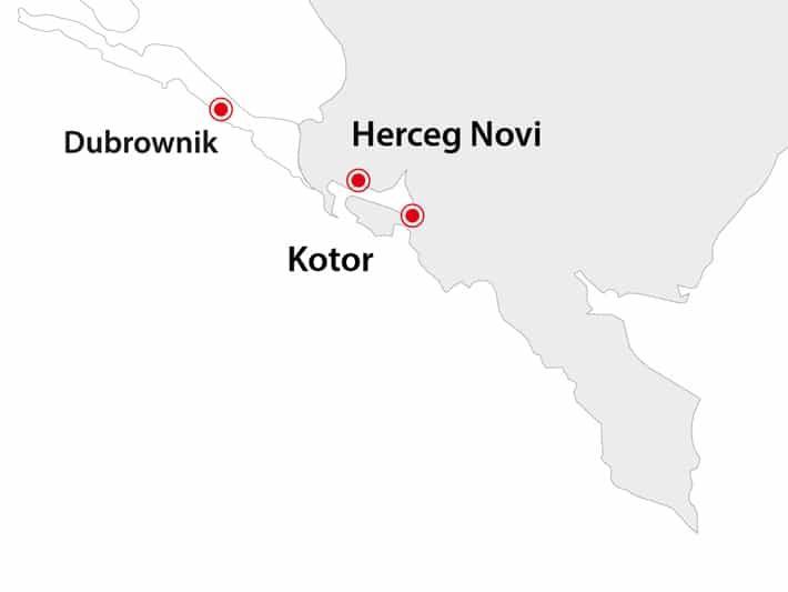 Mapka Czarnogóry - porty