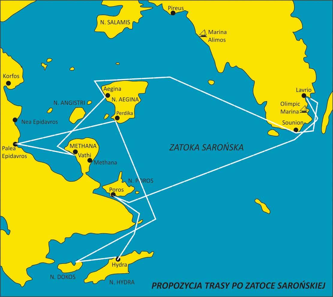 Propozycja trasy rejsu z Lavrio po Zatoce Sarońskiej