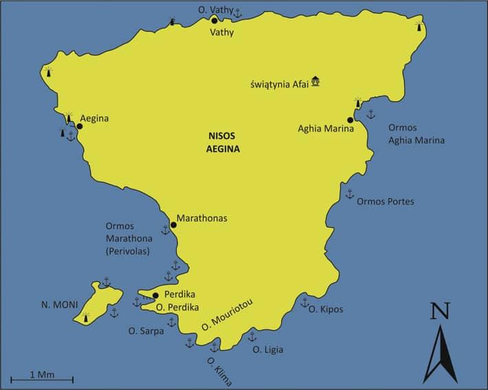 Mapa wyspa Aegina