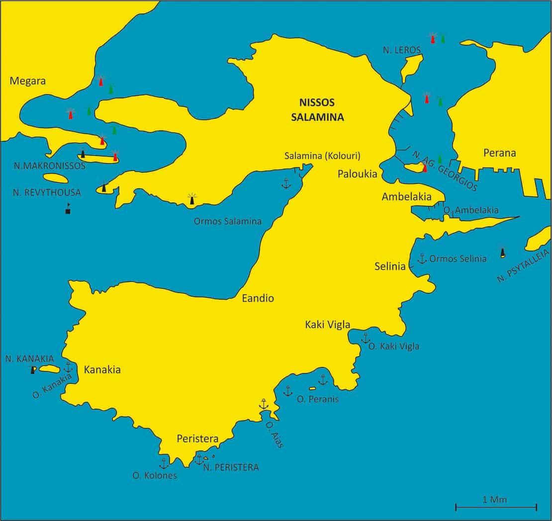 Mapa wyspy Salamina