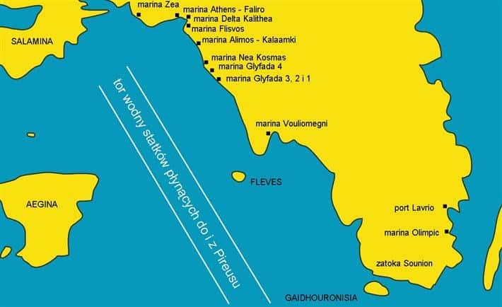 Mapka wybrzeża od Pireusu po Lavrio