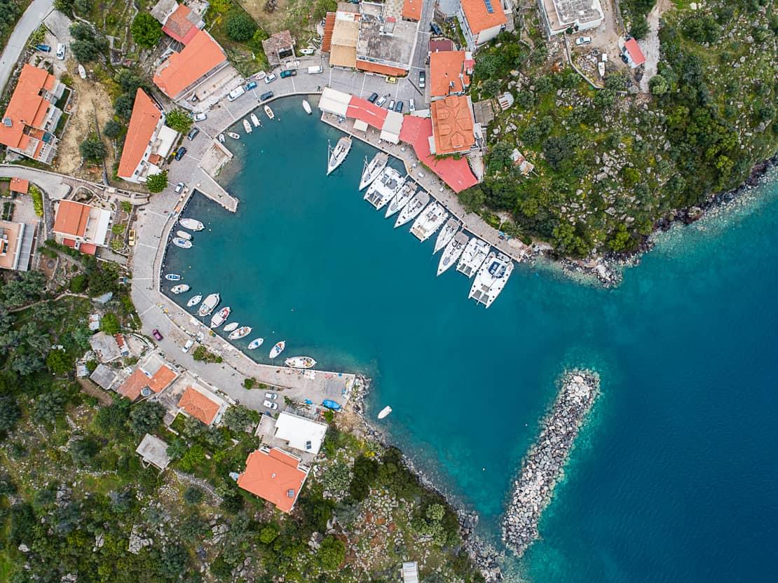 Port Vathi z góry