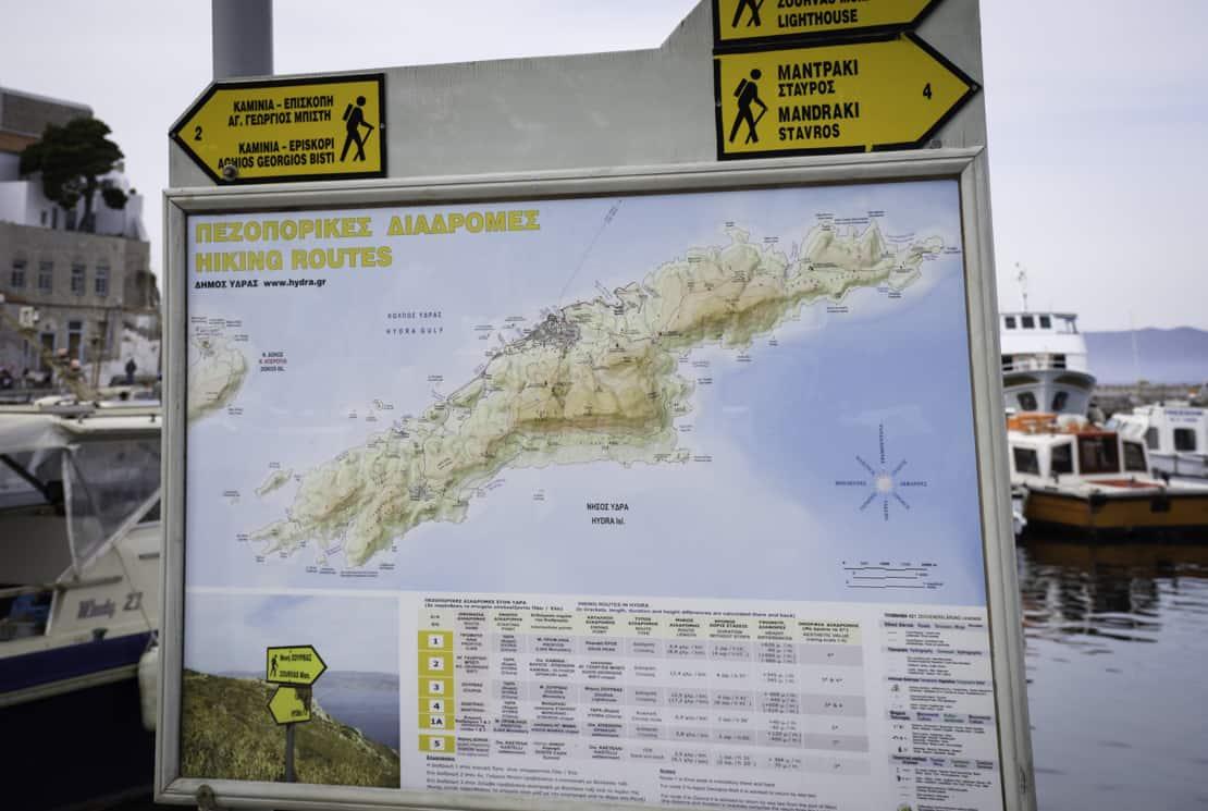 Hydra trasy piesze mapa