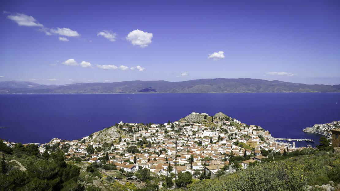 Hydra widok ze wzgórza nad portem