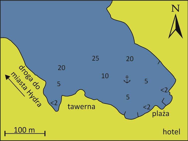 Hydra Zatoka Mandraki mapa