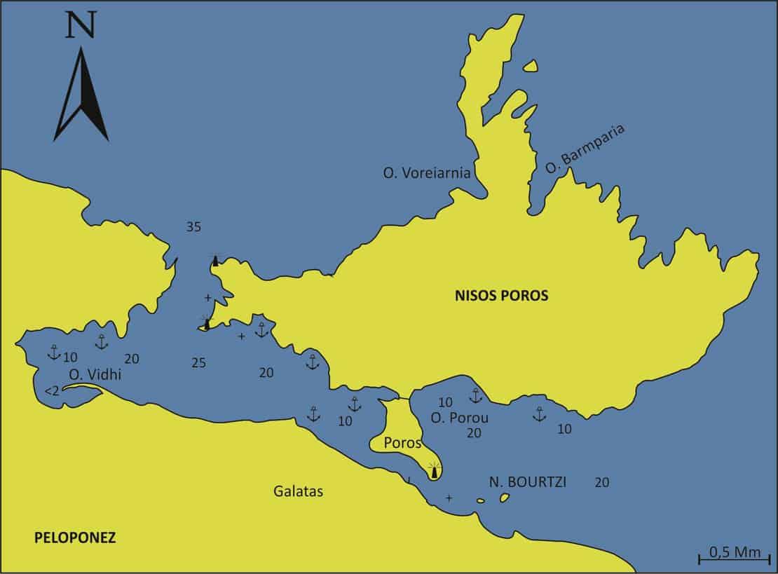 Wyspa Poros mapa