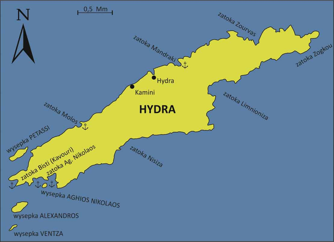 Wyspa Hydra mapa