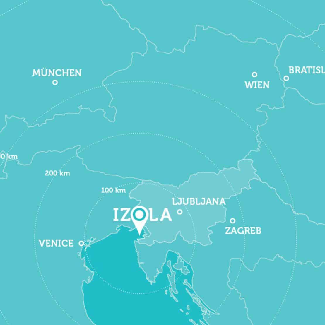 mapka czartery z Izola - Słowenia