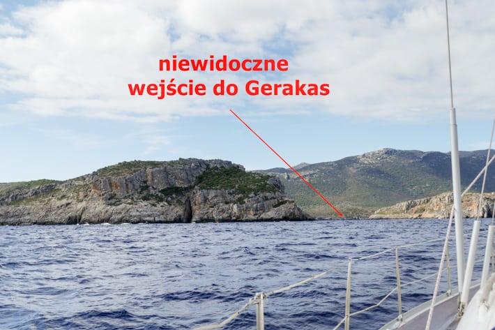 wejście do Gerakas od strony morza