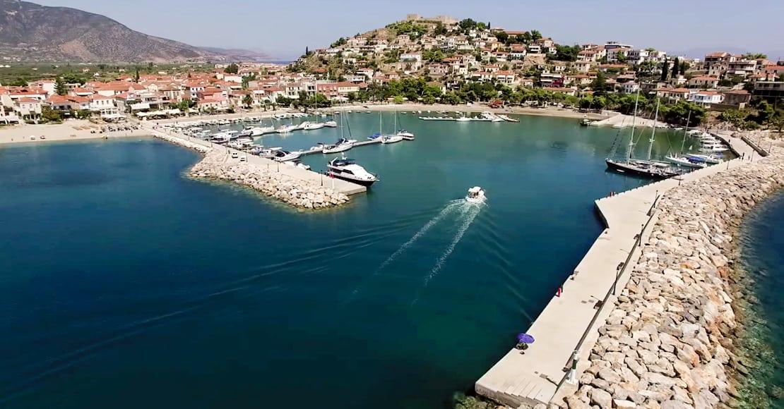 wejście do portu Paralia Astros