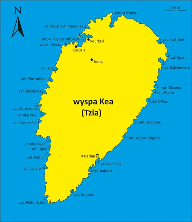 Wyspa Kea mapka