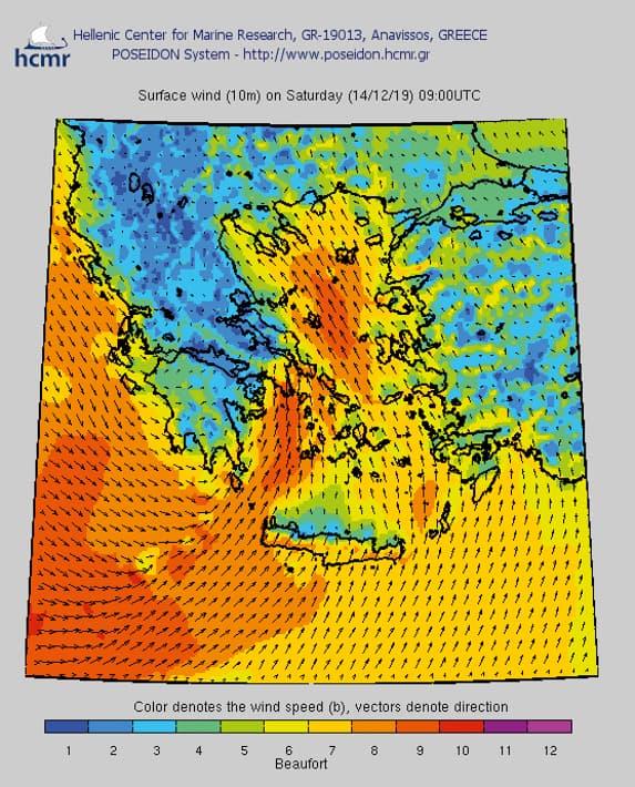 Przykładowa prognoza pogody dla Cyklad na 14 grudnia
