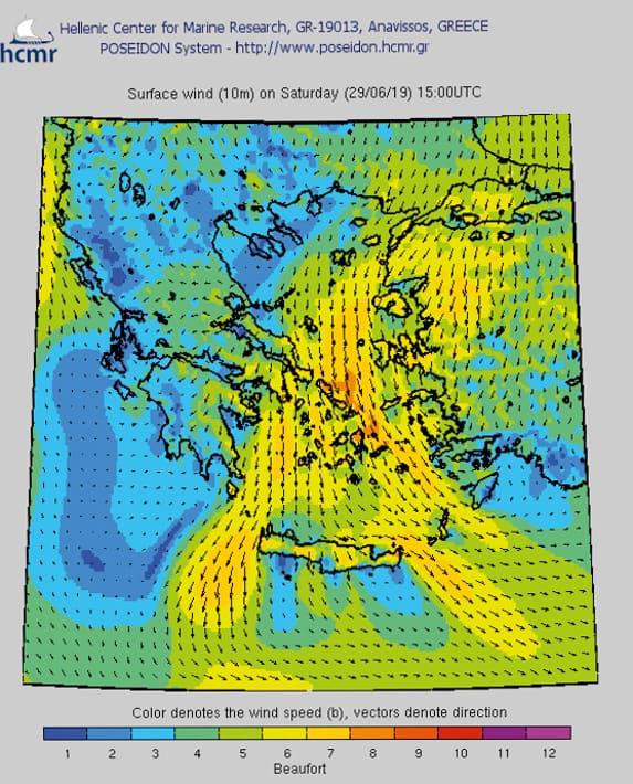 Przykładowa prognoza pogody dla Cyklad na 29 czerwca