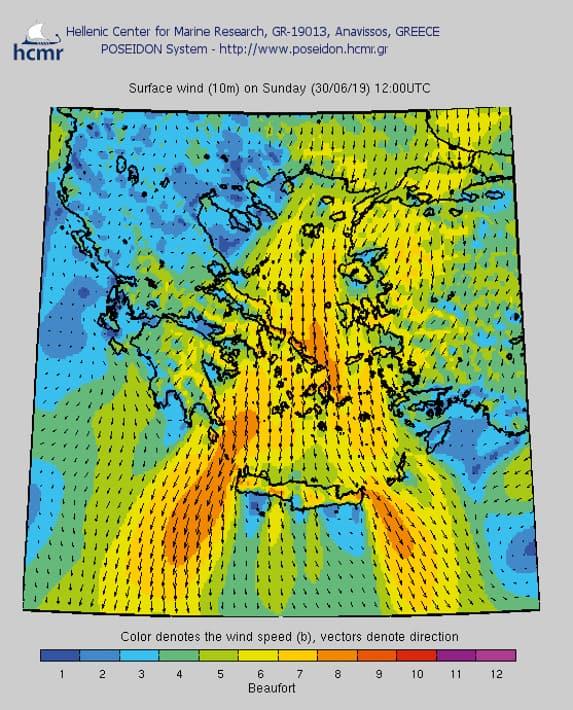 Przykładowa prognoza pogody dla Cyklad na 30 czerwca