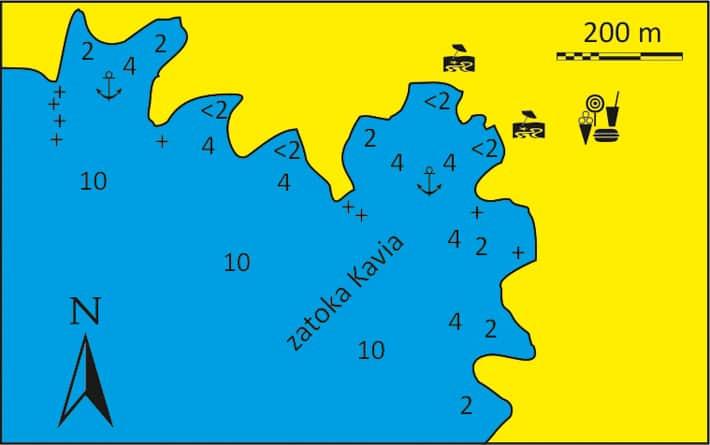 Zatoka Kavia na Kea mapka
