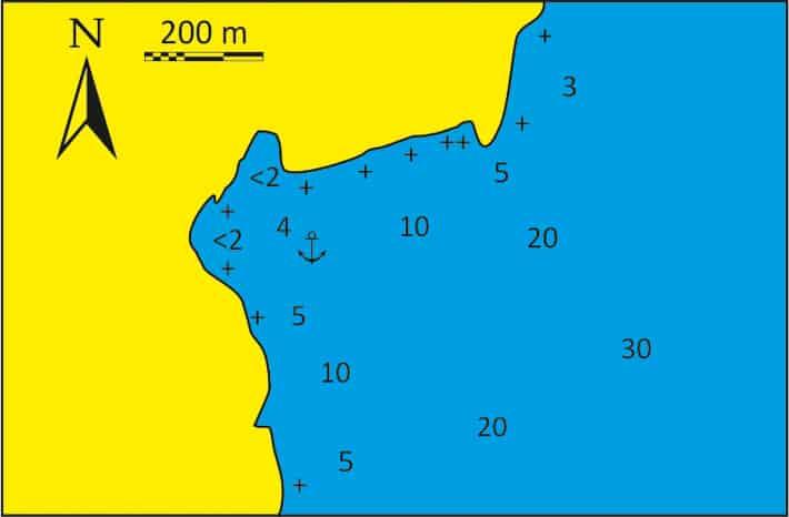 Zatoka Vryses na Kea mapka