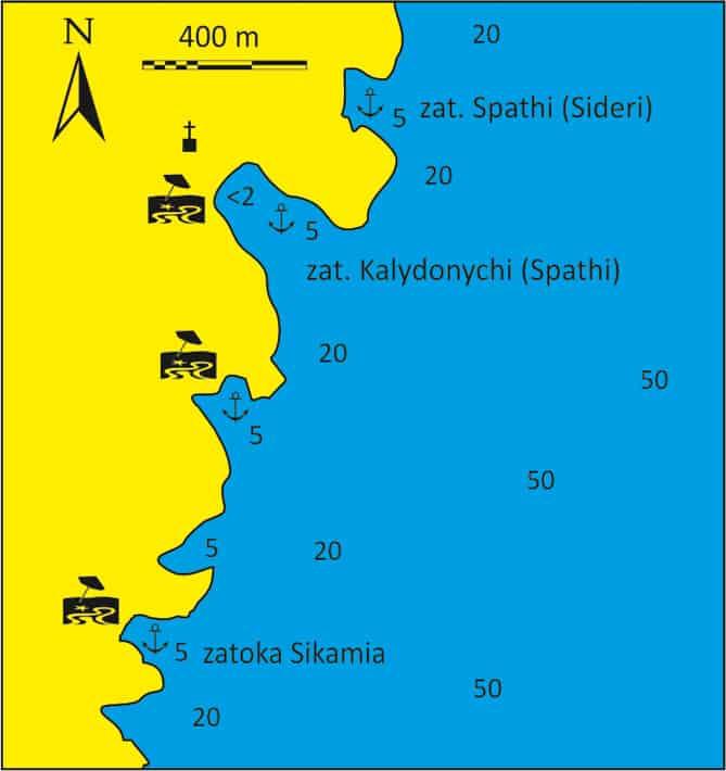 Zatoki Spathi i Kalydonychi na Kea mapka
