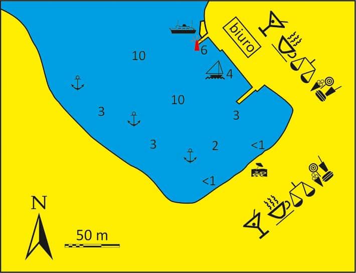 mapa portu Merihas na Kithnos