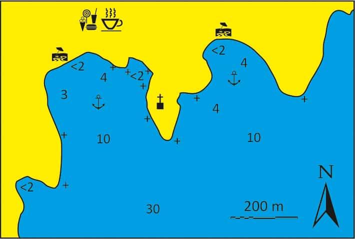 Mapa zatoki Kanala na wyspie Kithnos