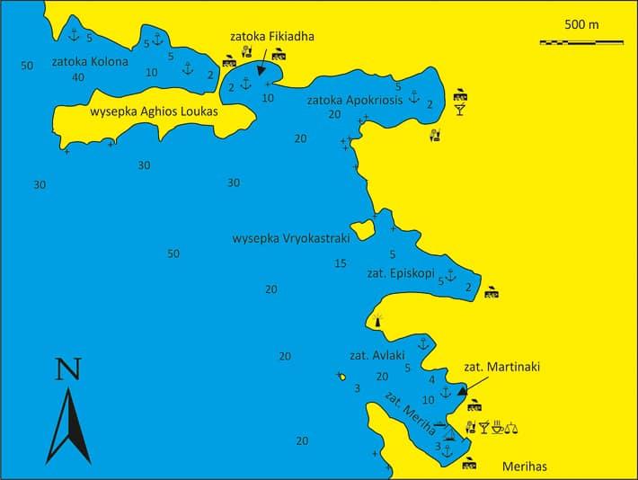 Mapa zatoki Kolona na wyspie Kithnos