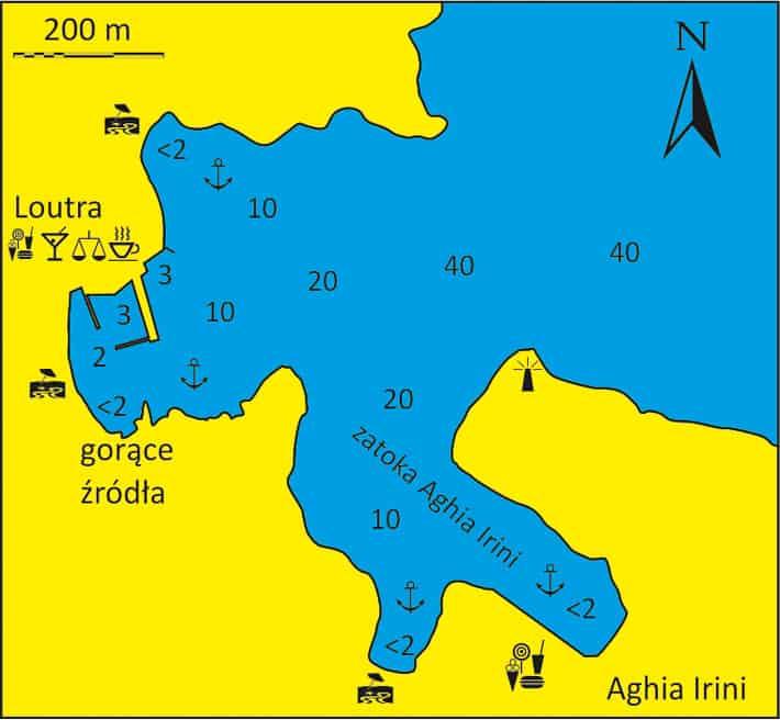 Mapa zatoki Loutra i Aghios Ilrini na wyspie Kithnos