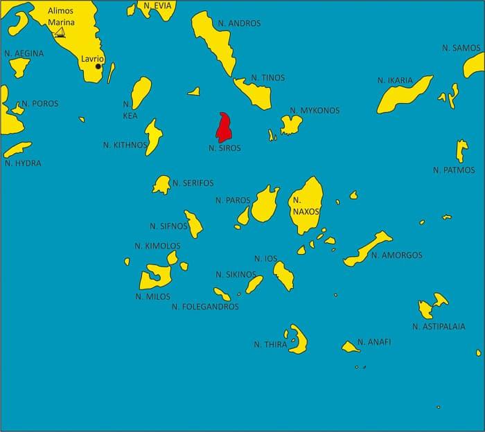 Cyklady wyspa Siros mapa