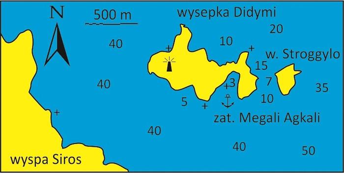 Wysepka Didymi mapka koło Syros