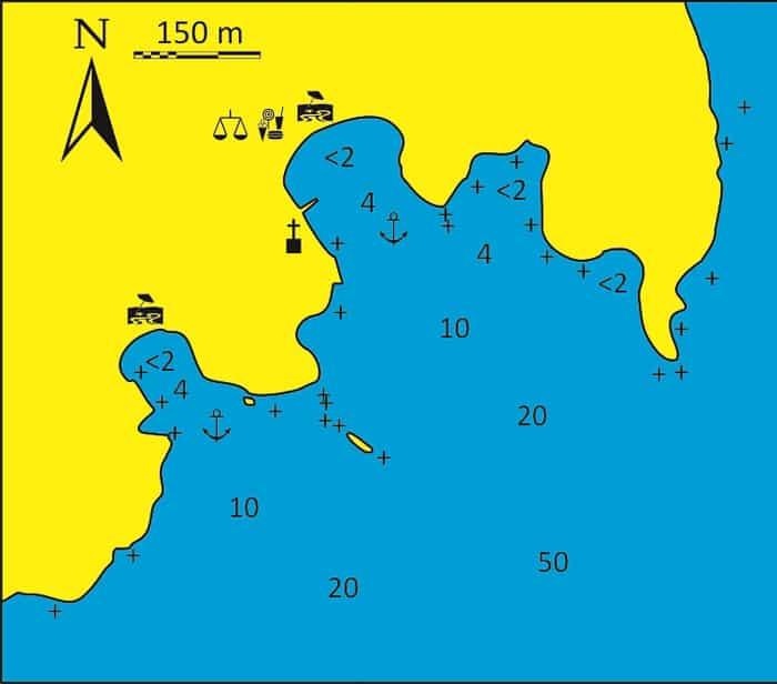 Mapka zatoki Megalos Gialos na Syros