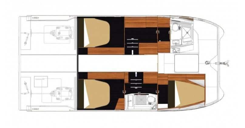 wnętrze katamaranu motorowego MY37 trzy kabiny