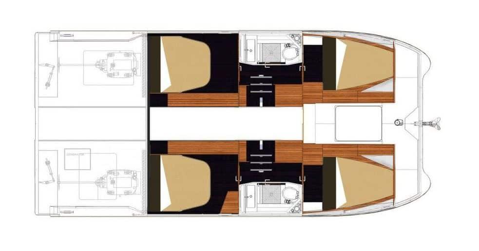 wnętrze katamaranu motorowego MY37 4 kabiny
