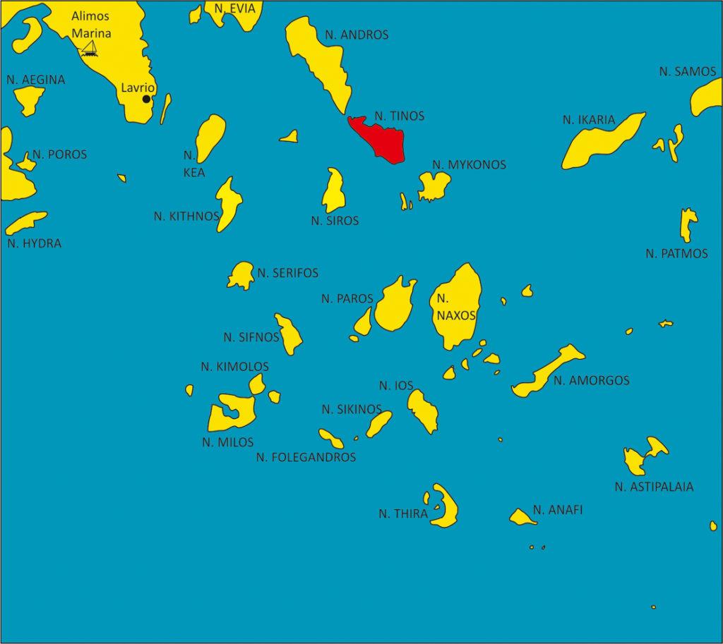 Cyklady wyspa Tinos mapka