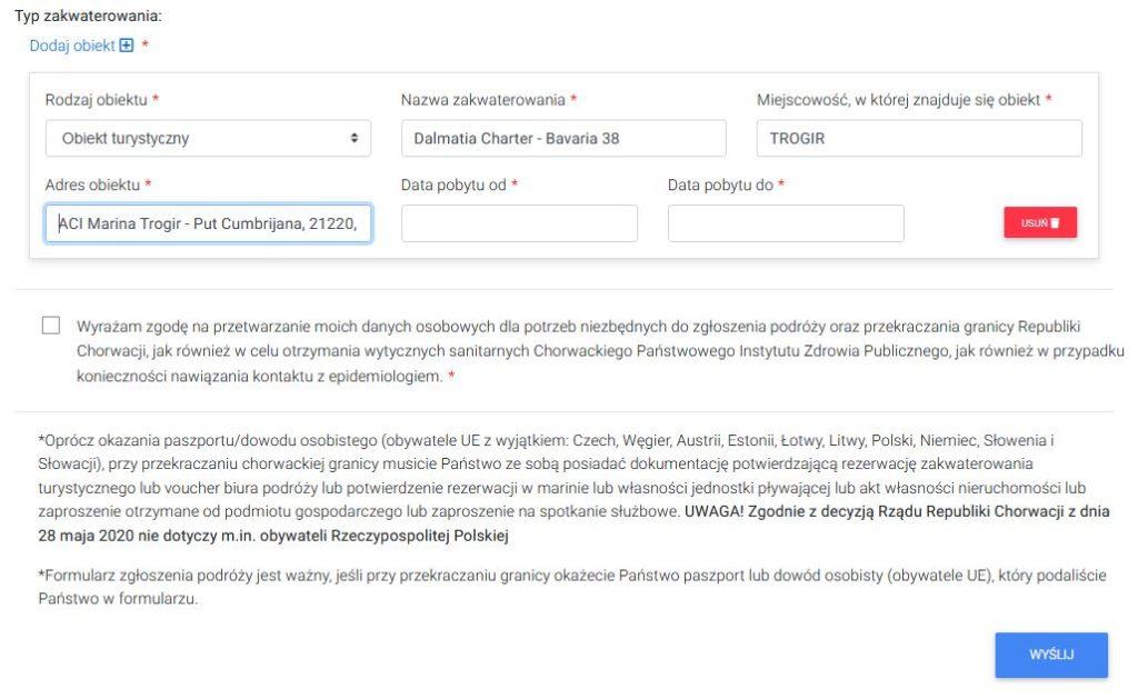 formularz na granicy dla jadących do Chorwacji
