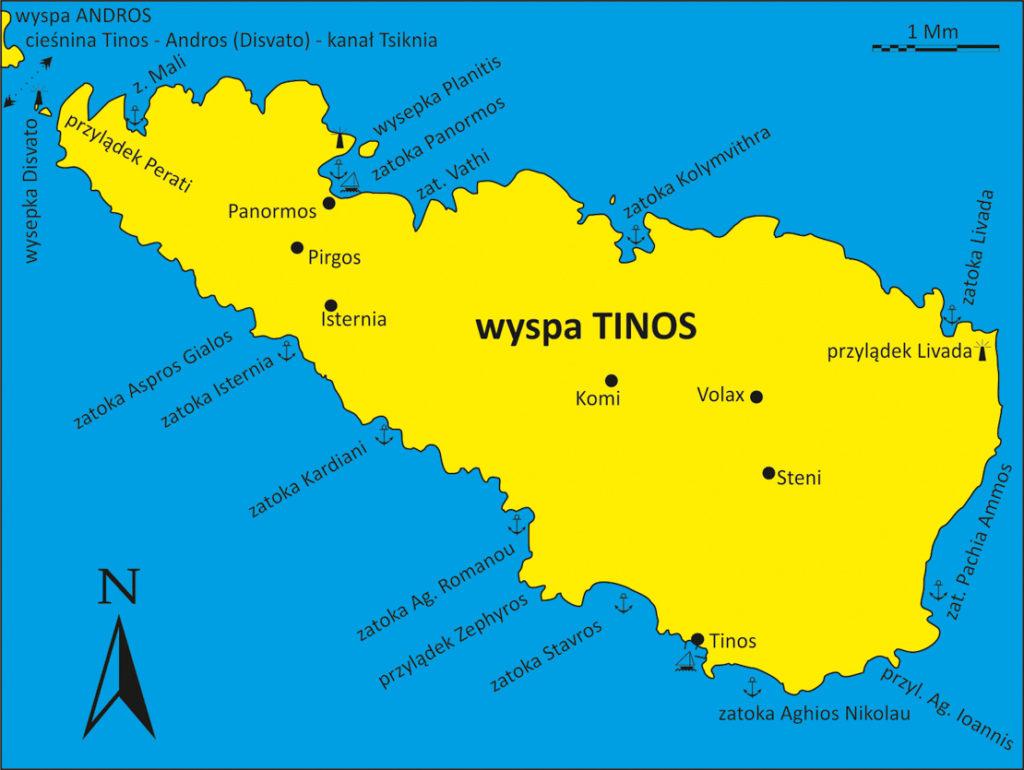 wyspa Tinos Cyklady mapka