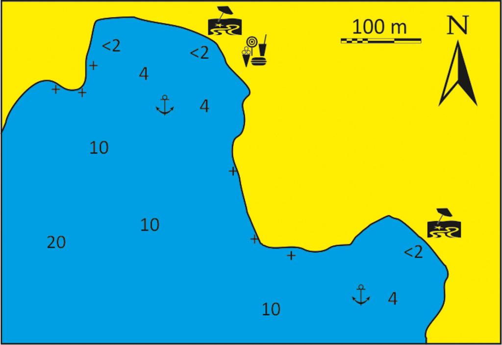 Zatoka Kardiani mapka wyspa Tinos