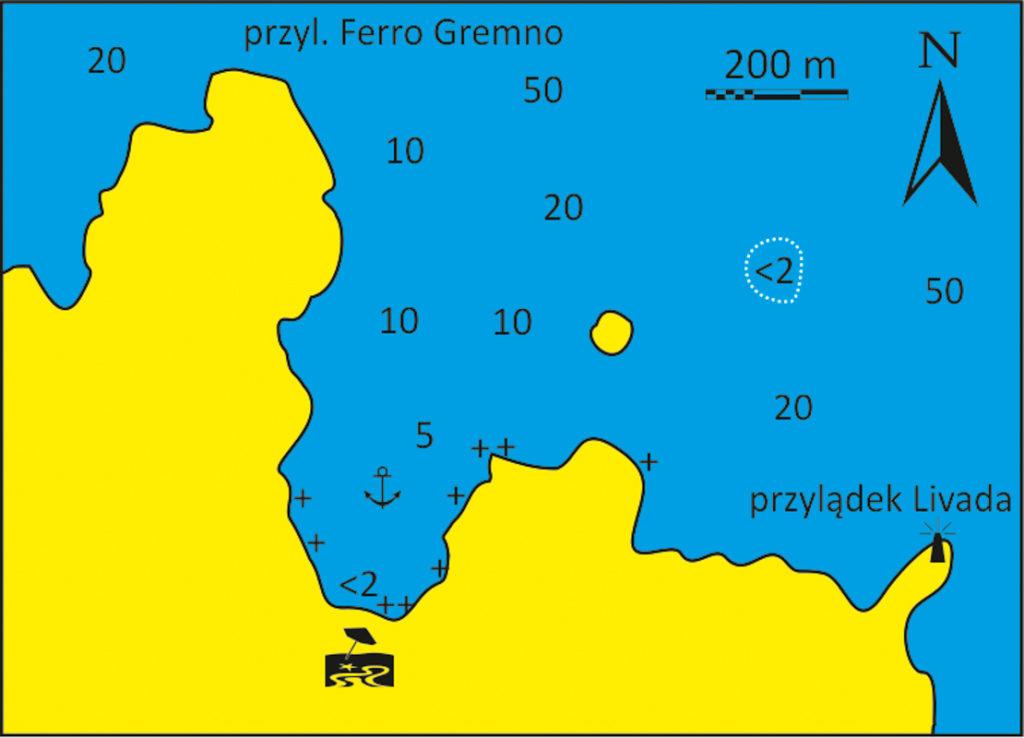 Mapka zatoka Livada na Tinos
