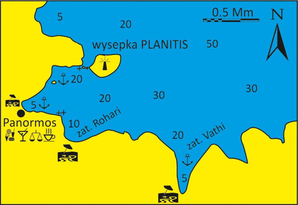 Zatoka Panormou mapka wyspa Tinos Cyklady
