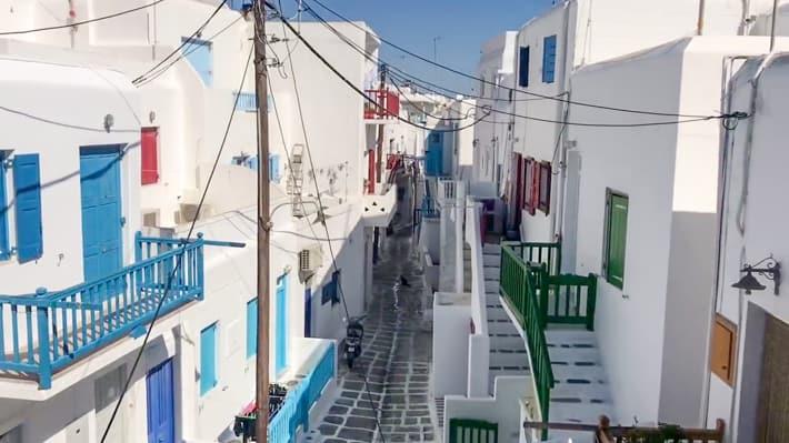 uliczki na Mykonos