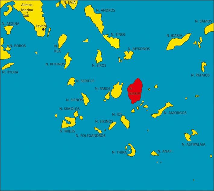Mapka Cyklady wyspa Naxos