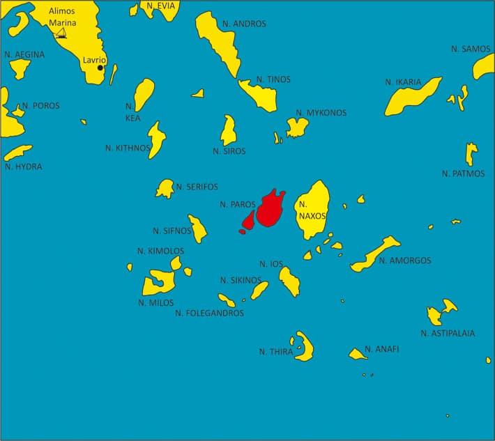 Mapka Cyklad z zaznaczoną wyspą Paros