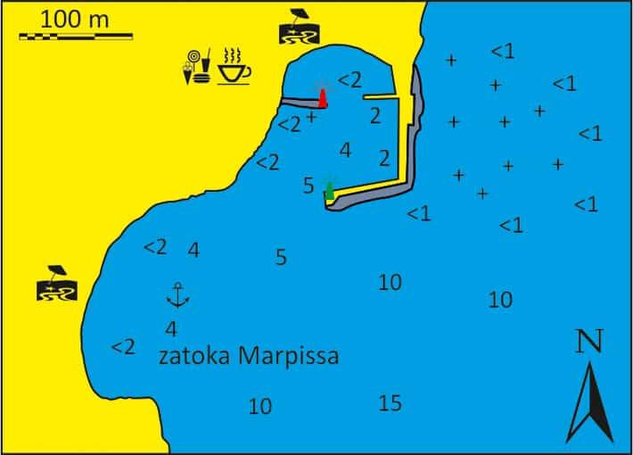 Mapka Piso Livadi i Zatoki Marpissa