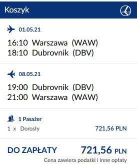 LOT wyszukiwarka majówka Dubrownik