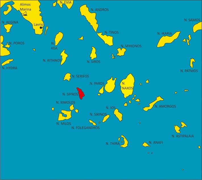 mapka Cyklady wyspa Sifnos