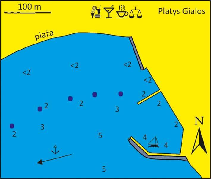 mapka portu Platys Gialos na Sifnos