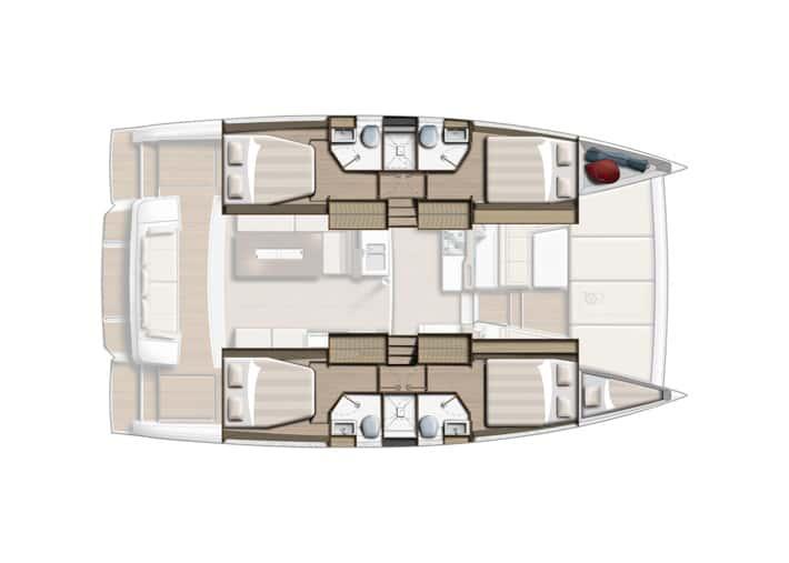 Bali 4.2 ułożenie 4 kabin wnętrze rysunek