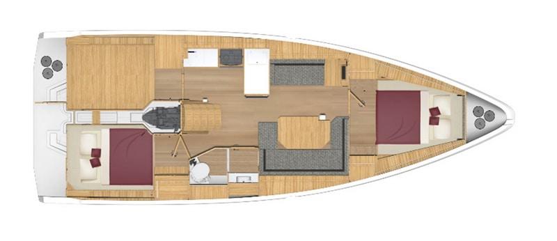 bavaria C 38 2 kabiny wnetrze jachtu