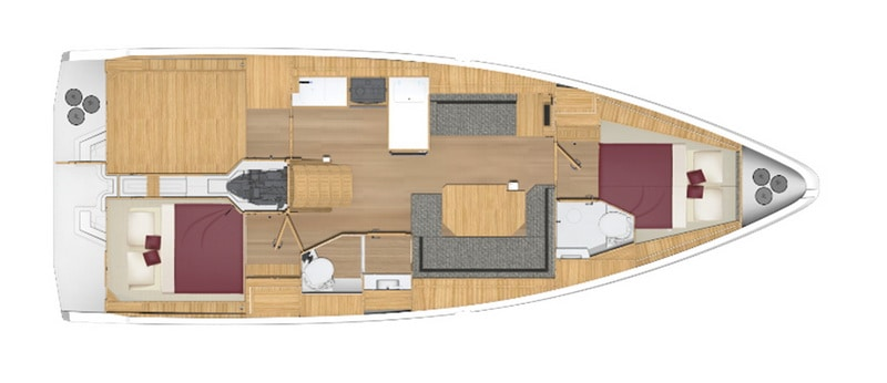 bavaria C 38 2 kabiny 2 łazienki wnetrze jachtu