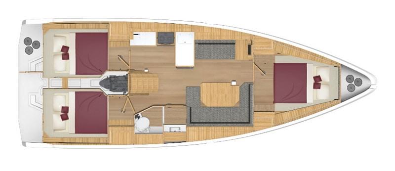 bavaria C 38 3 kabiny wnetrze jachtu