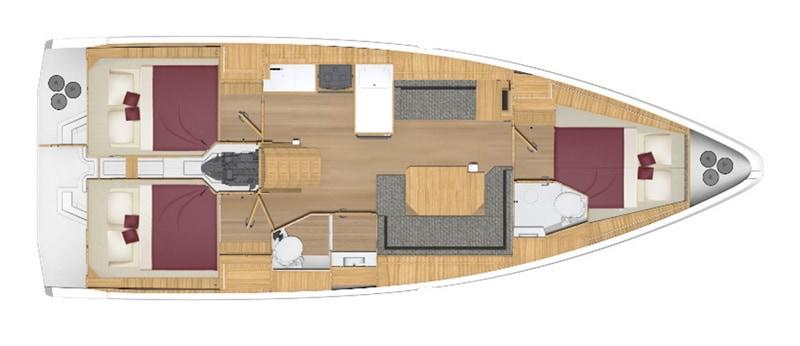 bavaria C 38 3 kabiny 2 łazienki wnetrze jachtu