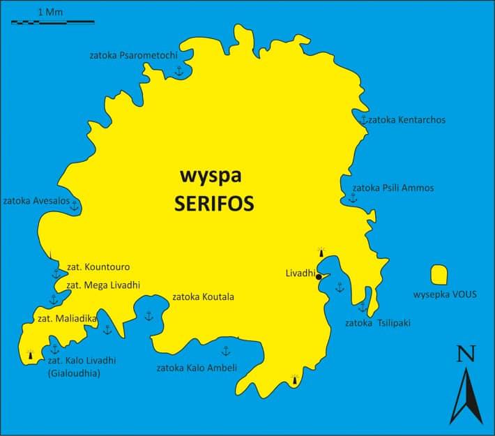 Serifos wyspa mapka